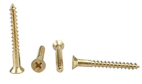 #8 x 1-1/2'' Solid Brass Flat Head Philips Wood Screw (1/2'' to 1-1/2'' in Listing), 100 Pack (#8 x 1-1/2'') by Chenango Supply