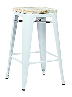 "OSP Furniture Bristow 26"" Metal Barstool with Vintage Wood Seat, White Finish Frame & Pine Irish Finish Seat, 2 Pack"