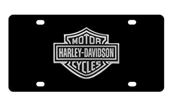 Harley-Davidson Negro Mueble Frontal Placa de Licencia, Negro & Plata Bar & Shield