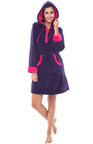 Long Velour Lounger - Alexander Del Rossa Womens Fleece Nightgown, Hooded Pullover Lounger with Pockets, Medium Purple (A0308PURMD)