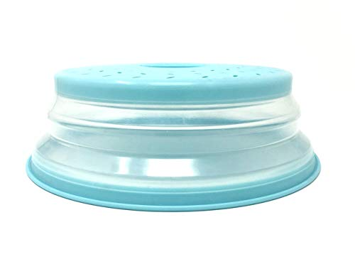 Handy Gourmet-Collapsible Microwave Splatter Shield-Teal-Keep Mirowave Clean-BPA Free-Steam Vents Prevents Soggy Food- Used as Bowl Lid or High Dome Lid