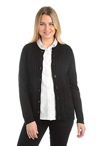 Ladies Knit Cardigans - Knit Minded Long Sleeve Two Pocket Cable Knit Cardigan Sweater Black 2X