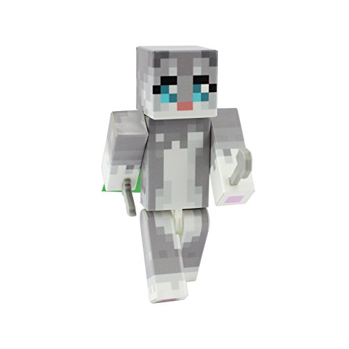 [Gray Cat Action Figure Toy, 4 Inch Custom Series Figurines by EnderToys] (Dragon Costume Skin Minecraft)