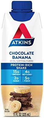 Atkins Chocolate Banana Protein-Rich Shake. With B Vitamins and High-Quality Protein. Made with Real Fruit. Keto-Friendly and Gluten Free, 11 Fl Oz (Pack of 12) 3