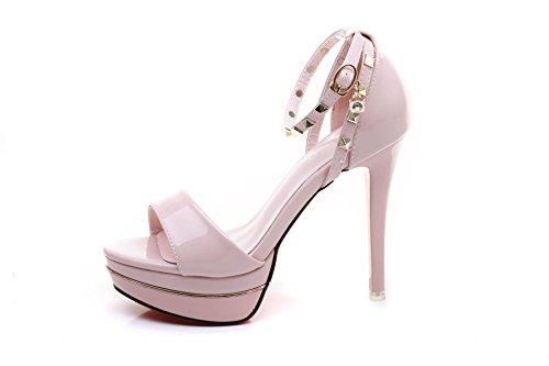 simple sandalias Pink de remache moda alta de XiaoGao 11 centimetros tacon de PqTvET6Iwx