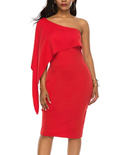 Womens Sexy Off One Shoulder Slim Fit Sleeveless Stretchy Bodycon Party Dresses Red L