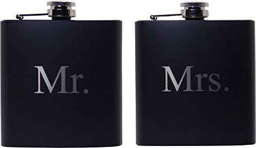 Mr. and Mrs. 6 oz Stainless Steel Black Matte Wedding Flask Set - Great Groommans or Bridal Wedding Gift for Newlyweds, Couples, and Christmas Gifts by CustomGiftsNow