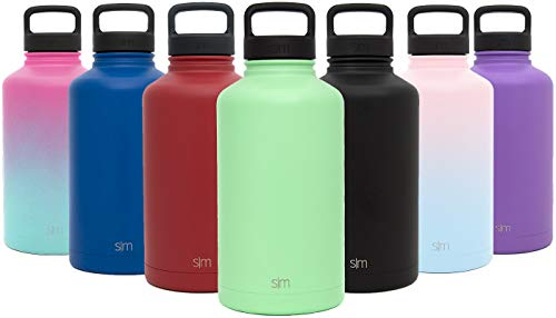 Simple Modern 64 oz Summit Water Bottle - Stainless Steel Metal Flask +2 Lids - Wide Mouth Double Wall Vacuum Insulated Green Leakproof Thermos -Mint