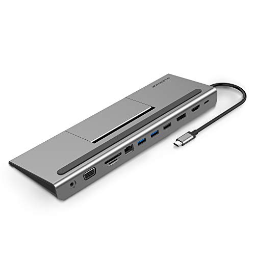 Jade Station - LENTION USB C Docking Station with 4K HDMI & DisplayPort, 1080P VGA, 100W PD, 1000M Ethernet, Card Reader, 3.5mm Aux Adapter, USB 3.0/2.0 for MacBook Air/Pro (Thunderbolt 3), Win PC, More (Space Gray)