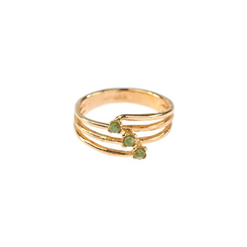 (Providence Vintage Jewelry 1980's Genuine Emeralds Ring 18k Gold Electroplated)