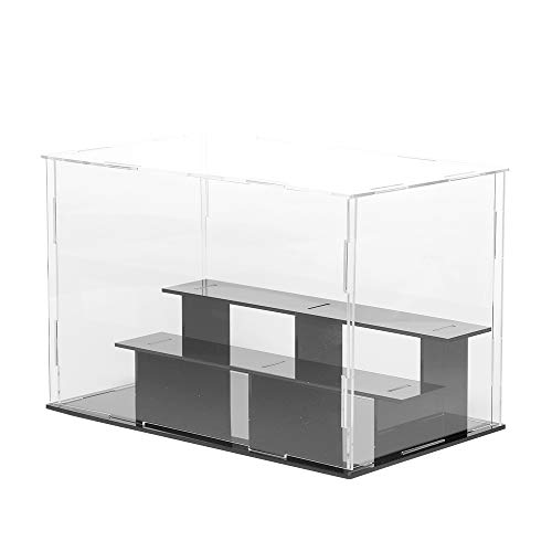 Lanscoe 3 Steps Clear Acrylic Display Case Countertop Box Cube Organizer Stand Dustproof Protection Showcase for Action Figures/Toys/Collectibles, 9.5x5.5x6.3 Inch (24x14x16cm)