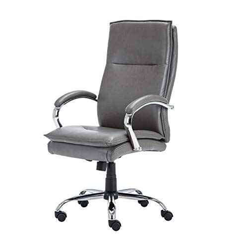 - KADIRYA Grey Leather High Back Executive Chair with Headrest Lumbar Support Arms and Adjustable Height Swivel and Rolling Wheels, Home Office Task Chair for Big Man 250 Lbs