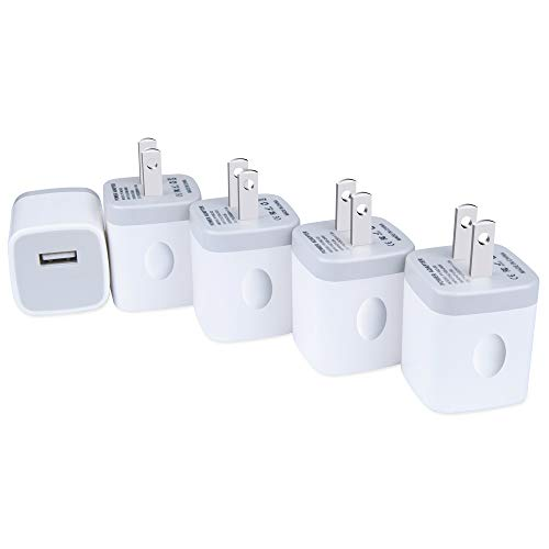 5Pack USB Wall Charger Plug Certified, Charging Bulk, NINIBER 1A/5V Single Port Charging Block Station Head Brick Base Adapter for Phone X 8 6S 6 Plus,5S,SE,4S, Samsung Galaxy J3 J7 S7 S6, LG, Moto