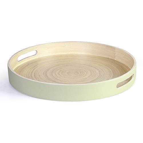 HandyMake Bamboo Lacquer Tray With Cut-Out Handles - Hand Crafted Multipurpose Serving Tray Made With Durable Eco-Friendly Spun Bamboo (Round 16 Inch Diameter, Mint Color, Matte Finish)