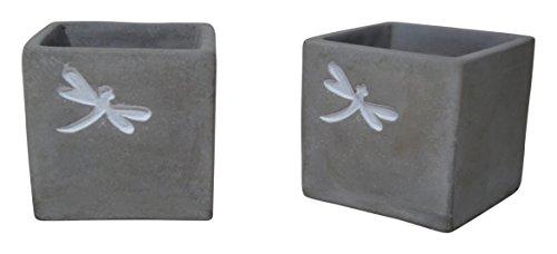 - Kasamodern KM8194SET Concrete Urban Square 2 Piece Pot Planter Set, Gray Cement