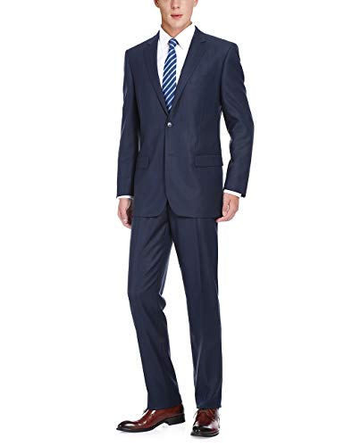 - Chama Men's 2 Piece Classic Fit & Slim Fit 2 Button Plaid Business Suits (Navy Windowpane-Classic fit, 44R / 38W)