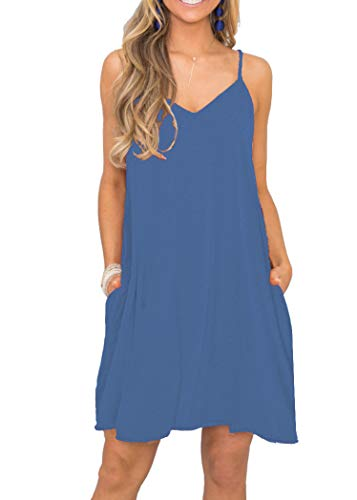 MISFAY Women's Summer Spaghetti Strap Casual Swing Tank Beach Cover Up Dress with Pockets (L, Beja Blue)