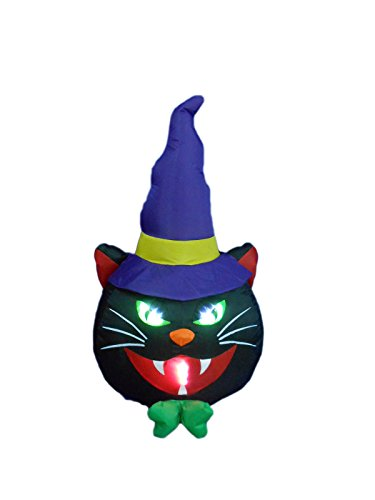 BZB Goods 4 Foot Illuminated Halloween Inflatable Black Cat with Witch Hat -