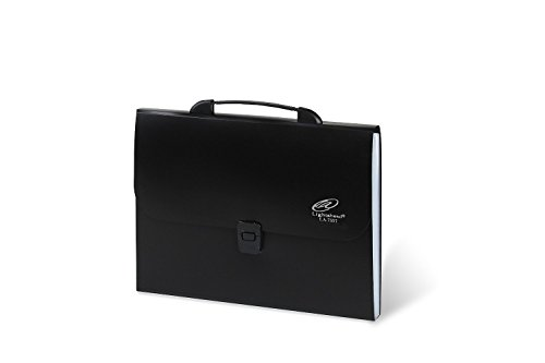 Lightahead LA-7557 Expanding File Folder with handle and insert button with 12 pockets. Available in Colors Blue, Pink,Green & Black (Black)