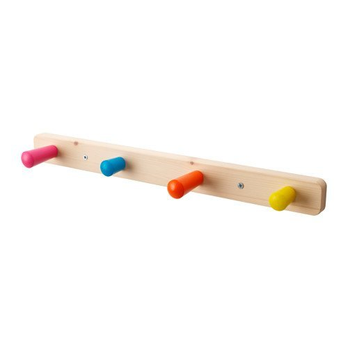 IKEA Wooden Children's Wall 4 Knob Clothes Hat Rack Multicolor