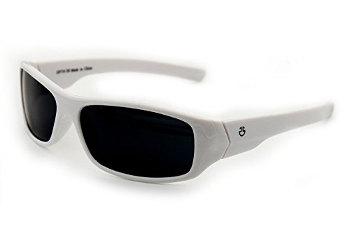 Kids Wraparound Sunglasses for Boys and Girls – Non Polarized Smoke Lenses With Gray Tint - White - by Optix - For Kids Spectacles