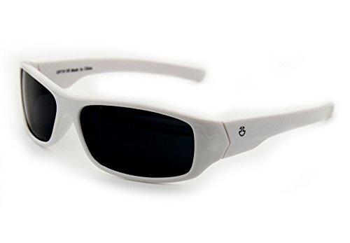 Kids Wraparound Sunglasses for Boys and Girls – Non Polarized Smoke Lenses With Gray Tint - White - by Optix - K White Sunglasses