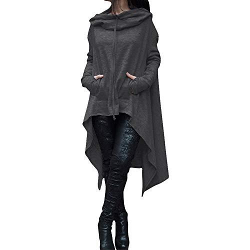 Dressin_Women's Long Sleeve Clearance Fashion Loose Long Hooded Tops Sweatshirt Asymmetric Blouse