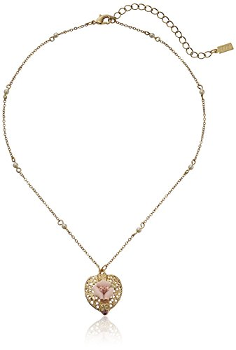 1928 Jewelry Gold-Tone Pink Crystal Heart and Pink Porcelain Rose Adjustable Pendant Necklace, 16