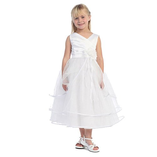 Chic Baby Girls White Taffeta Layered First Communion Pag...