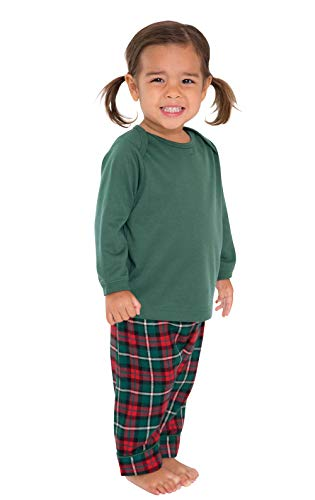 PajamaGram Holiday Plaid Flannel Christmas Pajamas, Red/Green, 18 -