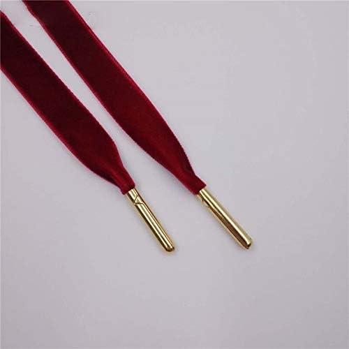 XJYWJ スニーカースポーツシューズ1.27センチメートル幅メタルのヒントフラット片面ベルベット靴ひも靴ひも (Color : 1623 2 Wine Red Gold, Size : 70cm)