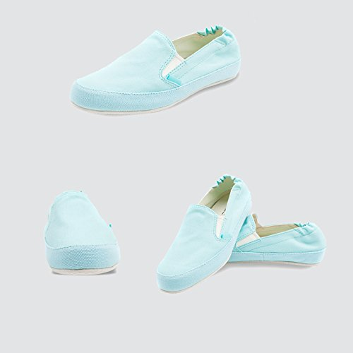 LIUXUEPIN LIUXUEPIN LIUXUEPIN Vereinigte Staaten Hintere Straße Segeltuchschuhe Damenschuhe Freizeitschuhe Ein Fuß Faule Schuhe Koreanische Version Student Satz Schuhe Hellblau bb89ec