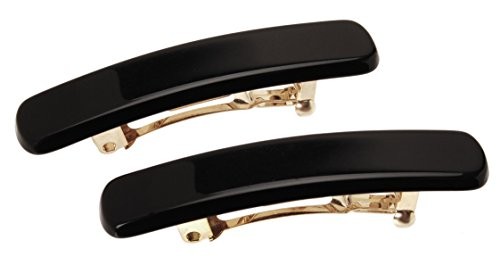 France Luxe Mini Rectangle Barrette, Black, Set of 2 - Classic French Design For Everyday Wear