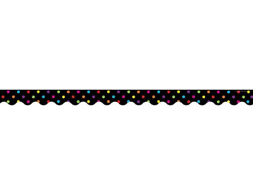 Black Trim Scalloped (Teacher Created Resources Black/Multicolor Dots Scalloped Border Trim, Black/Multi Color Dots (4648))