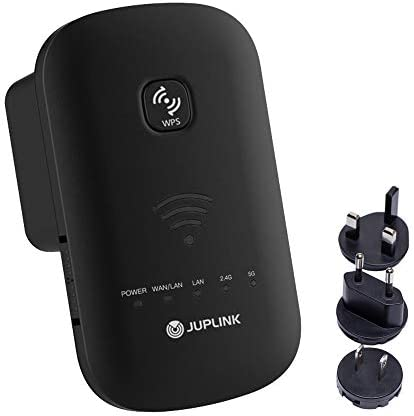 JUPLINK WiFi Range Extender -750Mbps WiFi Repeater Wireless Signal Booster 2.4 & 5GHz Dual Band,Coverage as much as 1000 squareft with 2 Fast Ethernet Port, AP & Router Mode, Compact Wall Plug Design