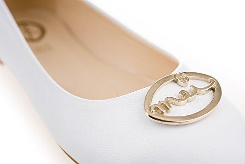 MEI Women's Ballet Flats White CXX5iPCyM