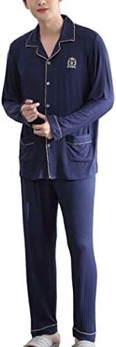 オールシーズンに最適 パジャマメンズモーダルコットンロングスリーブスリープパンツホームウェアシンプラス脂肪プラスサイズのセットパジャマ-SY7165