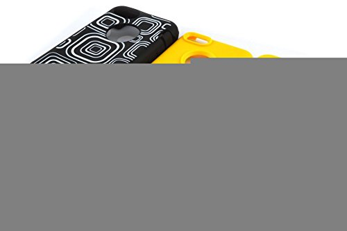 5C Case, iPhone 5C Cover Case, Lantier 3 en 1 Full Body impact hybride antichoc Cover Case Defender (plastique dur avec Soft Silicon extérieur) pour Apple iPhone 5C Lattice mignon + Jaune