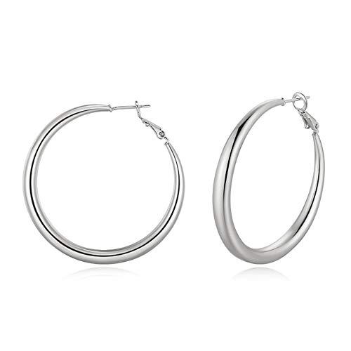 Doubnine Tube Hoop Earrings Gold Lightweight Large Earrings Women Fashion Jewelry Earrings