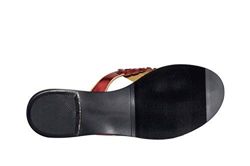 PU Sandals Open Dress Toe Summer Women's Gold Comfort B Casual Slippers Flat Silver Heel Red for Shoes 40wqpx5HT