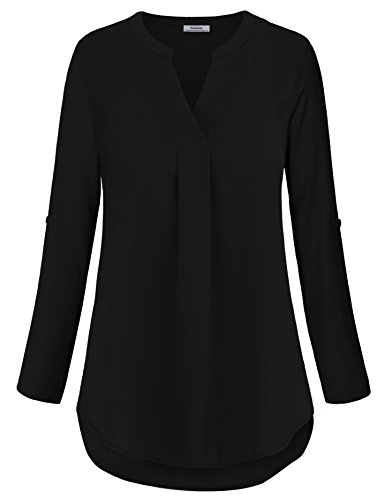 Casual Tunic Shirt,Business Casual Tops for Women Loft Clothing Pleated Front Swing Flowy Tops Prime Dressy Designer Fall Clothing Black,XL by Youtalia Direct (Image #2)
