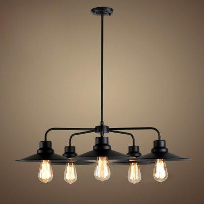 "Industrial Vintage Retro 3 Lights Chandelier - LITFAD 23.62"" Metal Edison Ceiling Light Pendant Light Fixture Black Finish with Metal Shade"