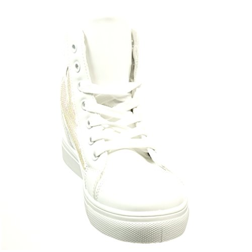 Plataforma Talón Blanco Strass 6 Angkorly Moda Cm Brillantes Deportivos Patentes 5 Zapatillas Mujer 6qWCxwf4t