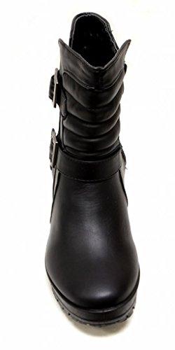 Bella Marie Tory-16 Femmes Bout Rond Haut Haut Cheville Boucles Côté Fermeture À Glissière Plate-forme Chunky Talon Bottillons Noir