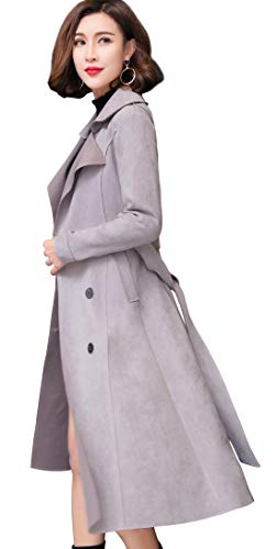 egant Lapel Collar Double Breasted Lightweight Calf Length Windbreaker Duster Coat (X-Large, Grey) ()