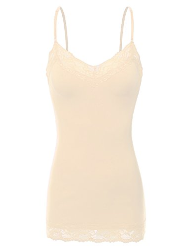 XT1004L Ladies Adjustable Spaghetti Strap Lace Trim Long Tunic Cami Tank Top Nude XL ()