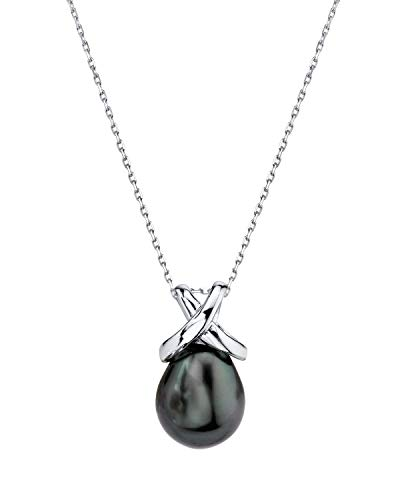 THE PEARL SOURCE 10-11mm Drop-Shape Black Tahitian South Sea Cultured Pearl Infinite Pendant Necklace for Women