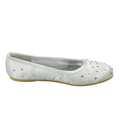 Ballet White 0 Girls Minishion Party Wedding Crystals Dress Womens Satin Heel Sparkle 5cm Flats THnxTBFMq