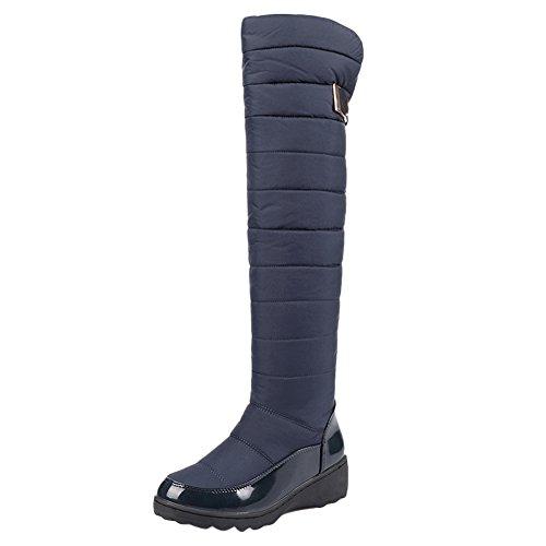 Latasa Womens Cold Weather Platform Knee High Snow Winter Boots Dark Blue j8YTS