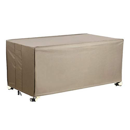 Flexiyard Patio Deck Box Cover, Patio Table Cover with Straps and Handles, 100% Waterproof Heavy Duty Outdoor Storage Bench Cover for Keter, Suncast, Lifetime, Rubbermaid Deck Box, 53×27-Inch